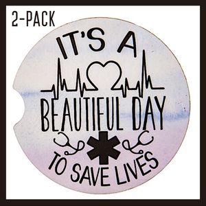 Beautiful Day Save Lives Nurse Stoneware Coasters
